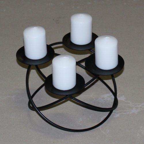 Adventskrans i jern med ringe - til bloklys - lille model