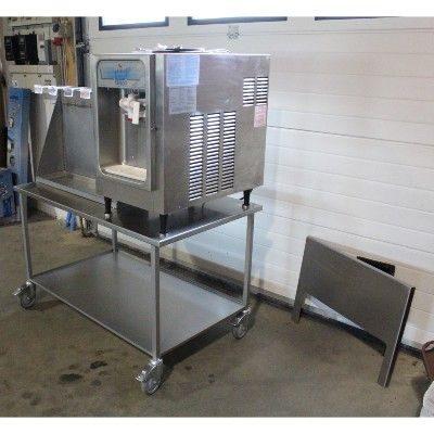 Bord i rustfri staal til softicemaskine med hylde
