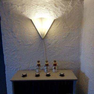 Eksempel paa Kunst og jern - Lampe i glas og jern - set forfra