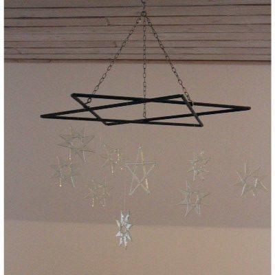 Stjerne lavet i jern til ophaeng af glasstjerner